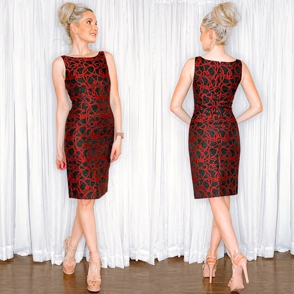 ANTONIO MELANI Dresses & Skirts - Antonio Melani Red Black Contemporary Work Dress